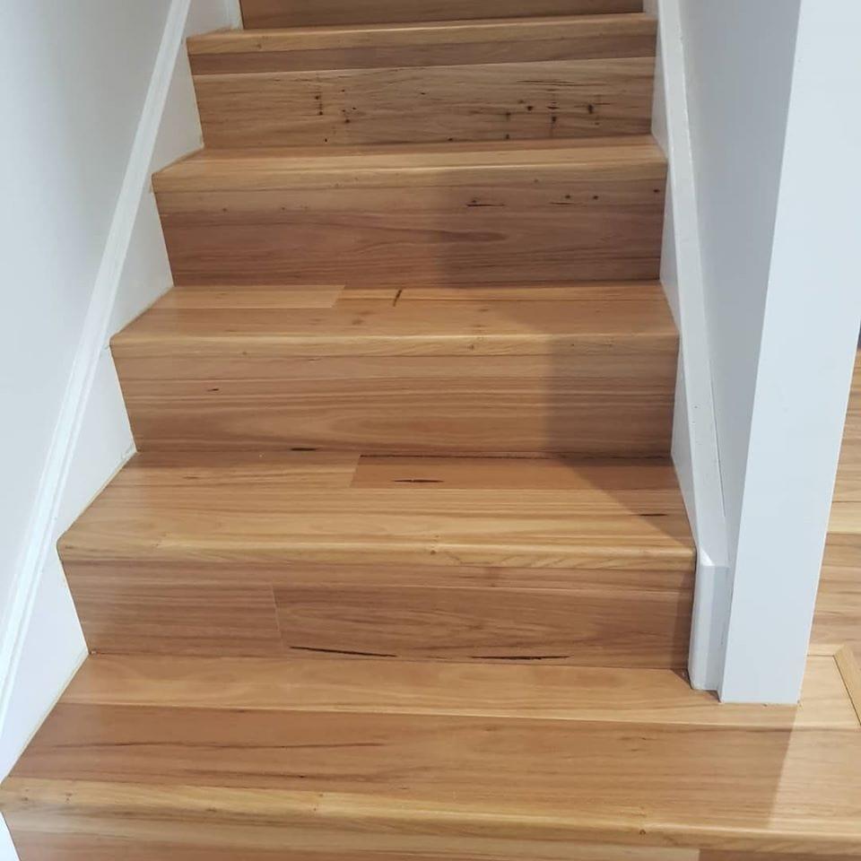 Flooring installation on stairs